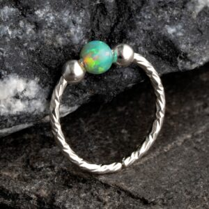 20 Gauge Opal Nose Ring Hoop