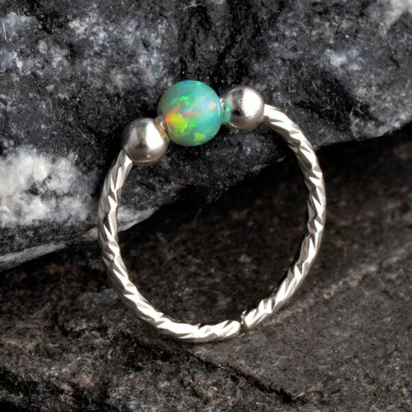 20 Gauge Opal Nose Ring Hoop